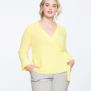 Eloquii Yellow Wrap V Neck Top Blouse Shirt 28